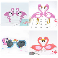 Wholesale Flamingo Party Accessories - Flamingo Unicorn Sunglasses Tropical Party Glasses Beach Party Fancy Dress Accessory Hawaiian Funny Glasses Eyewear Event Supplies LJJO3197