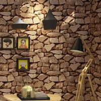felsenwandpapier großhandel-Vintage Wall Paper Wasserdichte Tapeten Home Decor 3D Nachahmung Rock Stein Vinyl Tapete Für Wände Papel De Parede 3D
