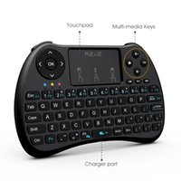 Wholesale Rii Mini Wireless Pc Qwerty - H9+ Backlight Keyboard Rii i8+ 2.4Ghz Wireless Qwerty English Keyboard with Touchpad for Mini PC Smart TV Box Laptop PC Backlit