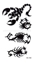 Wholesale Tattoos Scorpions - Wholesale-Harajuku waterproof temporary tattoos for men and women individuality black scorpion flash tattoo sticker Free Shipping HC1164