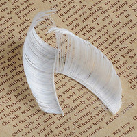 Wholesale Halloween Feather Lashes - Wholesale- 1 Pair Swank White Big Feather False Fancy Handmade Party Halloween Feather Eyelashes Eye Lash