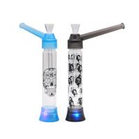ingrosso tubi di soffio-Portable Water Hookah Screw on Bottle Converter con bottiglia d'acqua in vetro Puff LED accendino Pipa di vetro bong di acqua