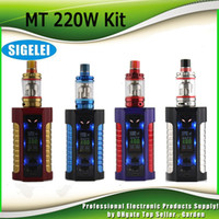 Wholesale Tank Light Kit - Original Sigelei MT Starter Kits 220w TC Box Mod with Revolvr Tank Dual 18650 Top Fill Refill System Adjustable LED light kit 100% Authentic