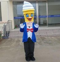 Wholesale ice cream mascot costumes - 100% real photo brand new Mr ice cream mascot costume suit for adult to wear