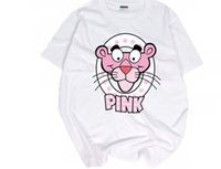 Wholesale Korean T Shirt Brands - Tide brand cartoon couples dress half sleeve summer Korean BF wind loose T-shirt naughty Pink Panther hip hop