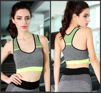 Wholesale Neon Pink Tops - High Quality Women Quick Drying cotton Comfortable Bra Neon Color Top Vest Underwear Fitness Exercise Padded Sport Bra Top Tank H178