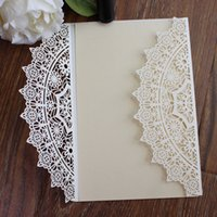 Wholesale Elegant Invitation Paper - Wed Invitation White Laser Cut Elegant Wed Inviation Marriage Invitation Card Wed Paper Card Birthday Postcard Free Shipping