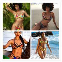 Wholesale Triangle Back Bikini - 2017 seven colors women's new triangle strap bikini Sexy Beach strap hanging neck back body bathing suit swimwear