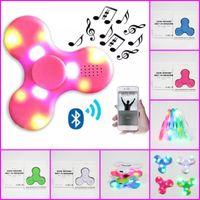 Wholesale Fingertips Music - 2017 Bluetooth LED Light Fidget Spinner toys 4 colors Hand Spinners Built in Bluetooth Speaker USB Music Fingertip LED spinners EDC toys