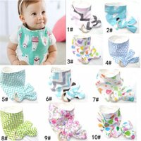 Wholesale bamboo bibs - 10 Styles New Baby Bibs+Teething Ring Teeth Stick 2pcs Sets 100% Cotton bamboo fiber Infant Bibs Teething Ring Wooden Teething Training