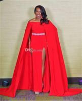 cinto vermelho frisado venda por atacado-Sexy Miss EUA 2019 Formal Vestidos de Noite Vermelho Off-Ombro A-Line Frisado Cinto Frente Dividir com Cap Vestidos de Noite Vestidos de Baile Longo