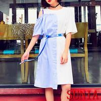 Wholesale Strapless Sleeved Shirt - Summer women's new sublimation full-length skirt high waist splicing hit color short-sleeved T-shirt skirt irregular net yarn strapless irre
