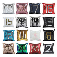 Wholesale Grey Green Bedding - 40cm *40cm Color Changing Reversible Pillow Case DIY Mermaid Sequin Cushion Cover Home Decoration Sofa Bed Decorative Pillow
