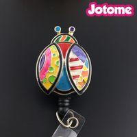 carretel de crachá de moda venda por atacado-Moda Venda Quente esmalte colorido Joaninha / libélula / peixe Retrátil Cristal Emblema Reels / ID Badge Reel Titular
