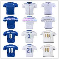 Wholesale Italy Blue Soccer Jerseys - 2017 New Italy Soccer jersey ZAZA INSIGNE EL SHAARAWY PIRLO MARCHISIO De Rossi Bonucci Verratti Chiellini Italia Blue White Football shirt