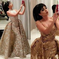 Wholesale Modal Photos - VARBOO_ELSA Real Photos gold Luxury Sequined Lace Evening Dresses Halter Hand Pleated Custom Made Vestido De Festa 2017 from Yousef Aljasmi