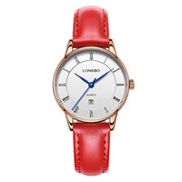 Wholesale Leather Watch Waterproof Women - New Arrival Genuine Leather LongBo Women Business Watches Luxury Big Dial Quartz Colorful Ladies Watches Date Calendar Clock Waterproof Gift