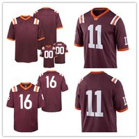 Wholesale Personalized Jack - Mens Virginia Tech Hokies College Custom #11 Jack Click 16 Coleman 17 Kam Chancellor Fox Red Stitched Personalized Jerseys S-3XL