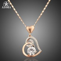 Wholesale rose gold snake charm for sale - Group buy Azora Rose Gold Color Stellux Crystals Heart Pendant Necklace For Valentine s Day Of Love Tn0009 Jewerly Christmas Gift
