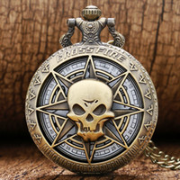 Wholesale-hot jeu Cross Fire Theme Hollow Bronze Case Quartz Montre de poche avec collier en chaîne Livraison gratuite