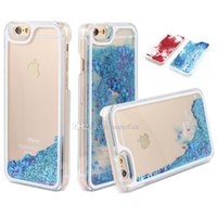 Wholesale Galaxy Glitter Cases - For Galaxy S7 Transparent Case Clear Quicksand Floating Case For iPhone 8 Hard Glitter Star Dynamic Case For iPhone 7 Plus in OPP Bag