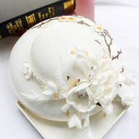 Wholesale Trendy Church Hats For Women - White Satin Embroidered Hats with feather Women hat church hat formal hats wedding hats top hat headpieces bridal headdress for party