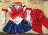 Wholesale Sailor Moon Costumes Kids - New Anime Pretty Soldier sailor moon cosplay costume set princess halloween for kids adult sailor moon costumes dress