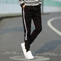 Wholesale Thick Sweatpants - Wholesale- Casual Pants Men Winter Warm Fleece Velvet Solid Drawstring sweatpants Hip Hop Thick Trousers Male Plus Size M-5XL