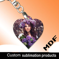 Wholesale Materials Companies - Sublimation blank material products keyring MDF key chain can printing photo custom personality gift for company advertising gift wholesale