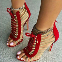 Wholesale American Gladiator - Female 2017 summer new women's shoes European and American style metal decoration high-heeled sandals spell color hollow sexy shoes