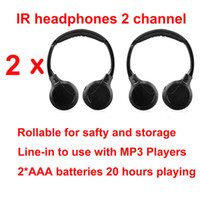 Wholesale Headrest Car Headset - Free shipping 2pcs Infrared Stereo Wireless Headphones Headset IR in Car roof dvd or headrest dvd Player two channels