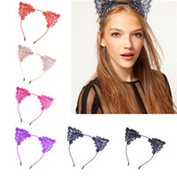 Wholesale Hair Wash Water - Children Hair Cute Accessories Cat Ladies Head band Black Lace Jewelry Water Soluble Lace Cat Ear Hair Bands Wash Fringe