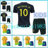 Wholesale Shorts Teen - 2017 2018 Brazil Kids Jerseys child teens Shirt DAVID LUIZ D. COSTA NEYMAR JR OSCAR WILLIAN 17 18 10 or more free to send DHL