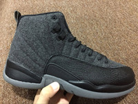 Wholesale Outdoor Wool Mens - With Box 2017 New High Mens Air Retro 12 Wool Grey Silver Black Basketball Shoes Sneakers for Men Outdoor Sports Shoes Size US8-US13