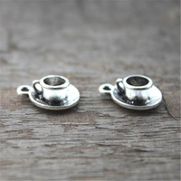 Wholesale Antique Cup Plate - 10pcs--Tea Cup Charms ,Antique Tibetan silver Tea Cup Charms Pendants 19x15mm