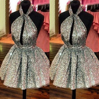 Wholesale Puffy Dresses For Cheap - Sexy Halter Backless Short Homecoming Dresses 2017 Gliter Gold Sequins Puffy Ball Gowns Prom Party Gowns Cheap Real Dress For Graduation
