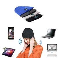 Wholesale Headgear For Winter - To Hot Men Women Soft Winter Beanie Hats Wireless Bluetooth Smart Cap Headphone Headset Speaker Mic Headgear Knitted Earphone cap
