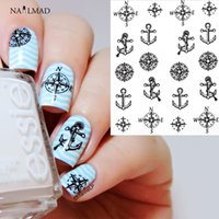 Wholesale Nail Art Stickers Anchor - Wholesale- 1 sheet Compass Anchors Nail Water Decals Black Transfer Stickers Nail Art Sticker Tattoo Decals