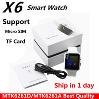 Wholesale Turkish Silver Bracelets Wholesale - Smartwatch Curved Screen X6 Smart watch bracelet Phone with SIM TF Card Slot with Camera for Samsung iPhone android smartwatch