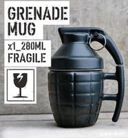 Pottery black grenade - Grenade Mug Grenade Cup with Lid Water Cup Coffee Cup with Cover White or Black to choose