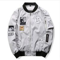 Wholesale Mandarin Slim Fit - New Style Men Bomber Jacket Hip Hop Patch Designs Slim Fit Pilot Bomber Jacket Coat Men Jackets Plus Size 4XL