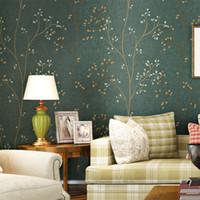 amerikanischen stil tapete groihandel-American Style Tapete Rolle rustikale Wand Papier Baum Wandbild Green Branch Tree Wallpaper für Wände 3 d Non Woven Wallpapers Decor