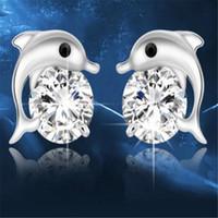 yunus mücevheratı gümüş toptan satış-Avusturya Kristal Yunuslar Aşk saplama Küpe DHL Sevimli 925 gümüş küpe Düğün Takı Noel Hediye