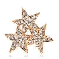 Wholesale Star 18k - Pentagram Pentacle Brooch Scarf Pins Shiny Crystal Rhinestone Five Point Star Brooch for Women Girl Gift Wedding Bride Brooches Jewelry 18K