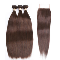 cyssic k toptan satış-Kahverengi Düz Saç Dantel Kapatma Ile Brezilyalı Bakire Saç # 4 Çikolata Brwon Dantel Kapatma Ile Demetleri Ipek Düz Dantel Kapatma Satılık