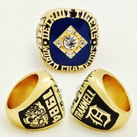 Wholesale Detroit Ring - 2017 High Quality Fashion Wholesale Sport Ring 1984 Detroit Tigers World Series Championship Ring For Men Big Ring
