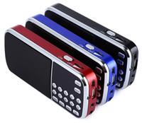 ingrosso radio blu-2017 Nuovo arrivo Portatile Digital Stereo FM Mini Radio Lettore musicale con TF Card Ingresso audio USB AUX Box blu nero rosso