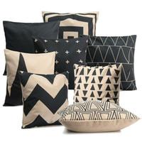 Wholesale Vintage White Pillowcases - Wholesale- New Vintage Black &White Cotton Linen Throw Pillow Case Pillowcase Mountain Peak Shaped Pillow Covers 18 Styles