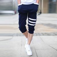 Wholesale crop harem - Wholesale- 2016 Summer Hot Casual Mens Capri Cropped Harem Sweatpants Jogger Trousers Harem Hip Hop Shorts