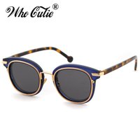 Wholesale circle shades men - WHO CUTIE Club Master Style Sunglasses Men Women Brand Designer Vintage Retro Square Frame Gold Circle Sun Glasses Shades OM433